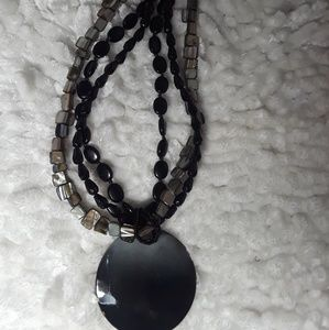 Beautiful Black Multi Color Pendant Choker Necklac